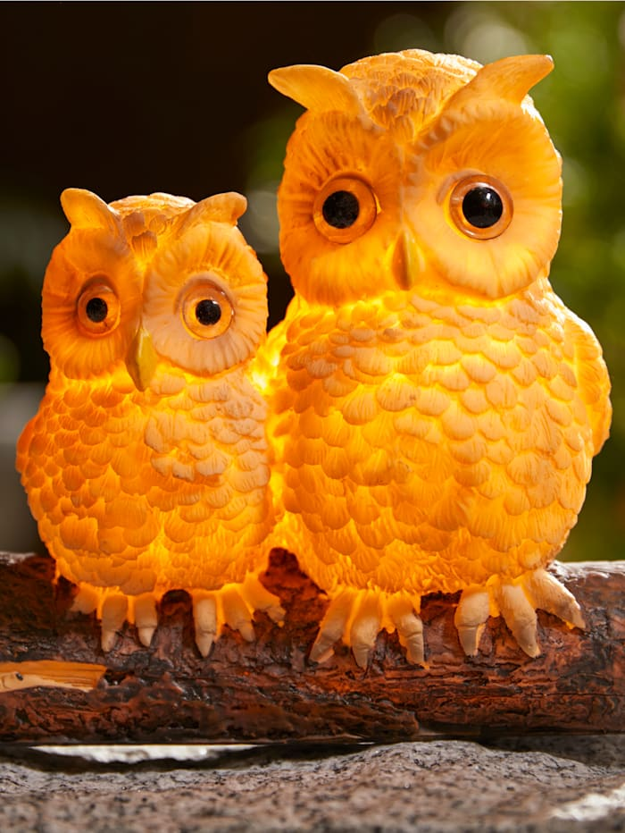 Solarleuchte 'Eulenpaar', gelb