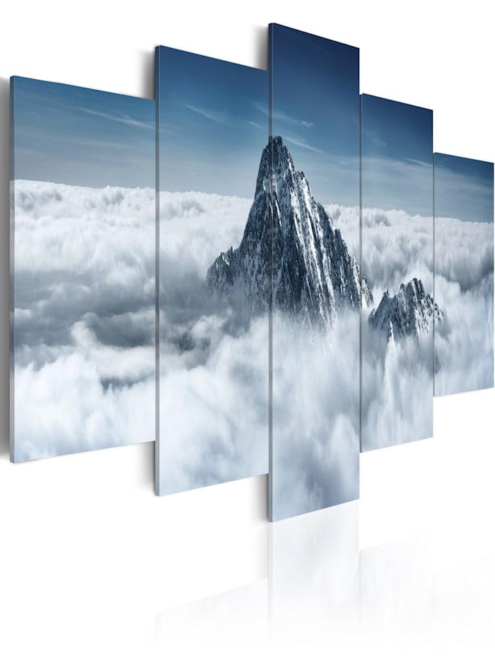 artgeist Wandbild Bergspitze über den Wolken, Weiß,Grau,Dunkelblau