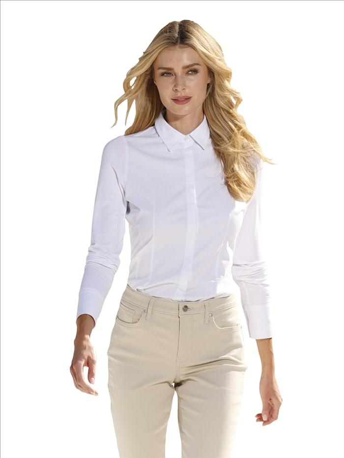 AMY VERMONT Bluse mit Vorderteil aus Webware und Rückteil & Ärmel aus elastischer Jerseyqualität, Natur