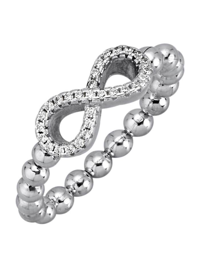 KLiNGEL Infinity-Ring mit synth. Zirkonia, Silberfarben