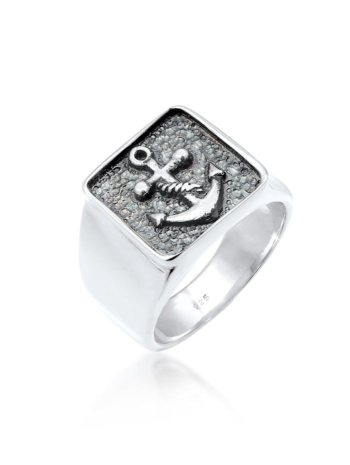 Kuzzoi Ring Herren Siegelring Anker Basic Oxidiert 925 Silber, Silber