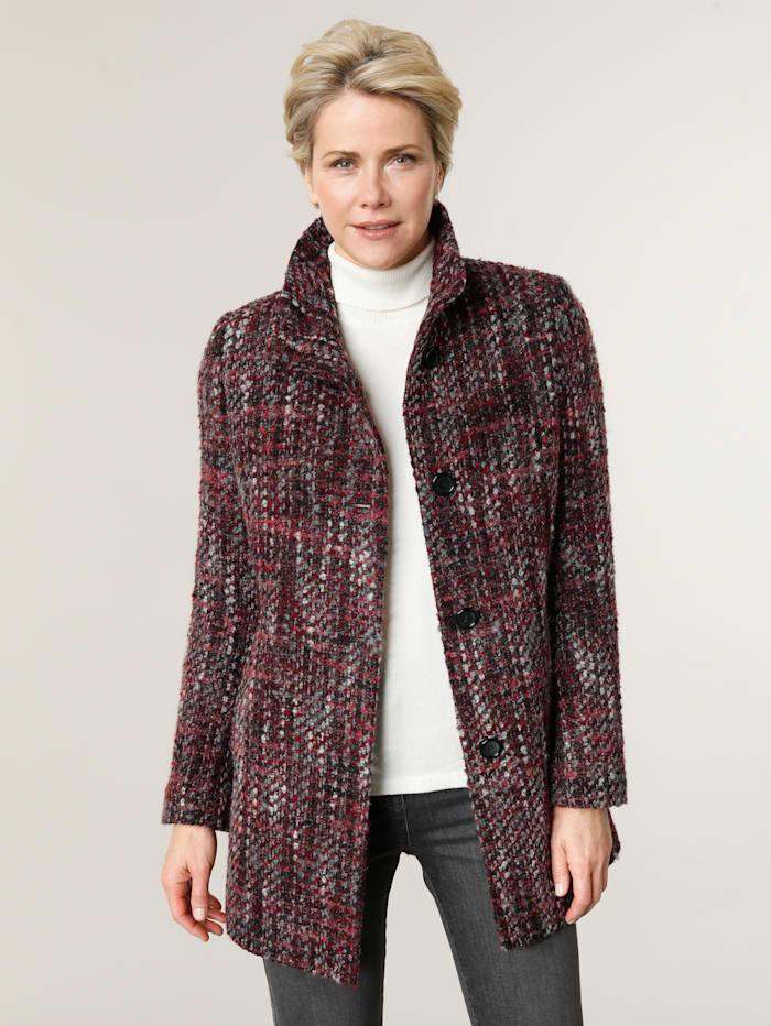 Barbara Lebek Wollen jas, Rood/Zwart