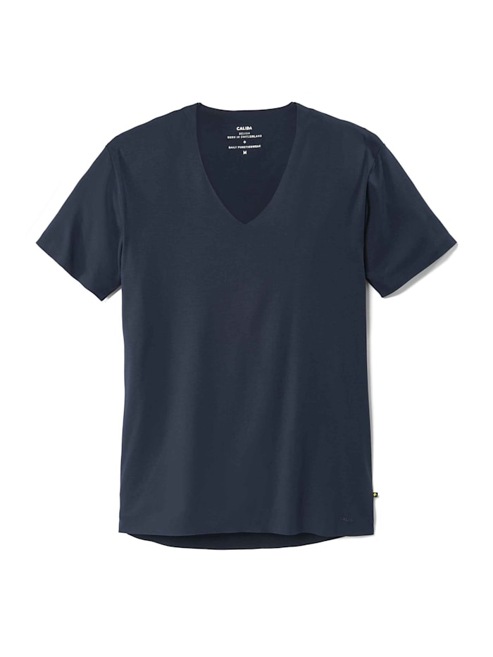 Calida T-Shirt, V-Neck Ökotex zertifiert, dark sapphire