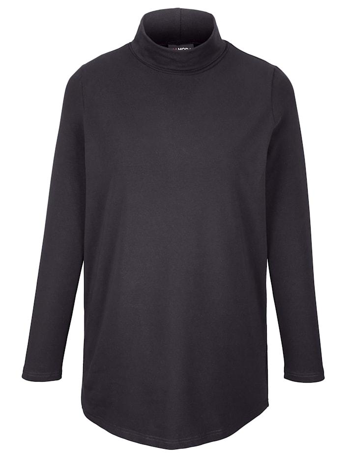 MIAMODA Shirt mit Rollkragen aus Single Jersey, Schwarz