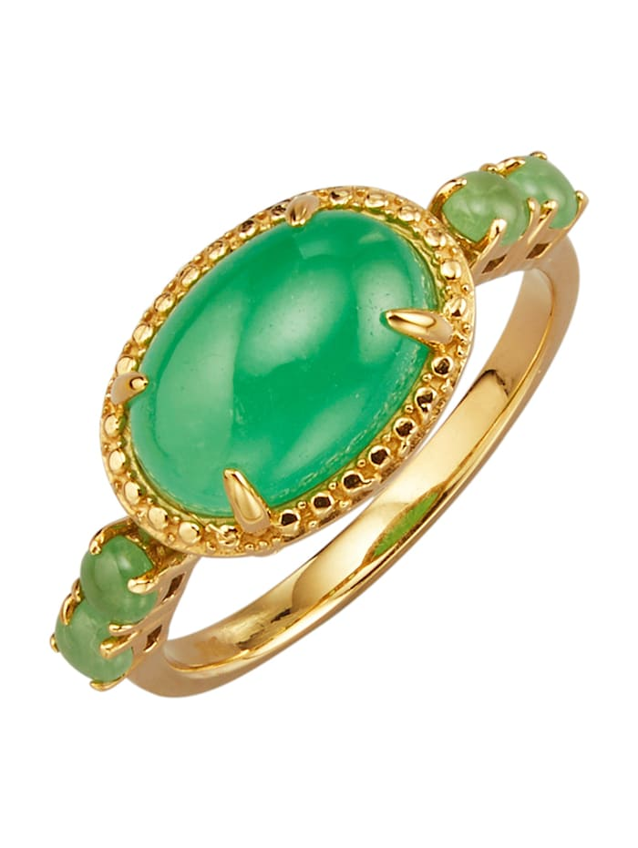 Bague en argent 925 doré, à pierres de jade à pierres de jade, Coloris or jaune
