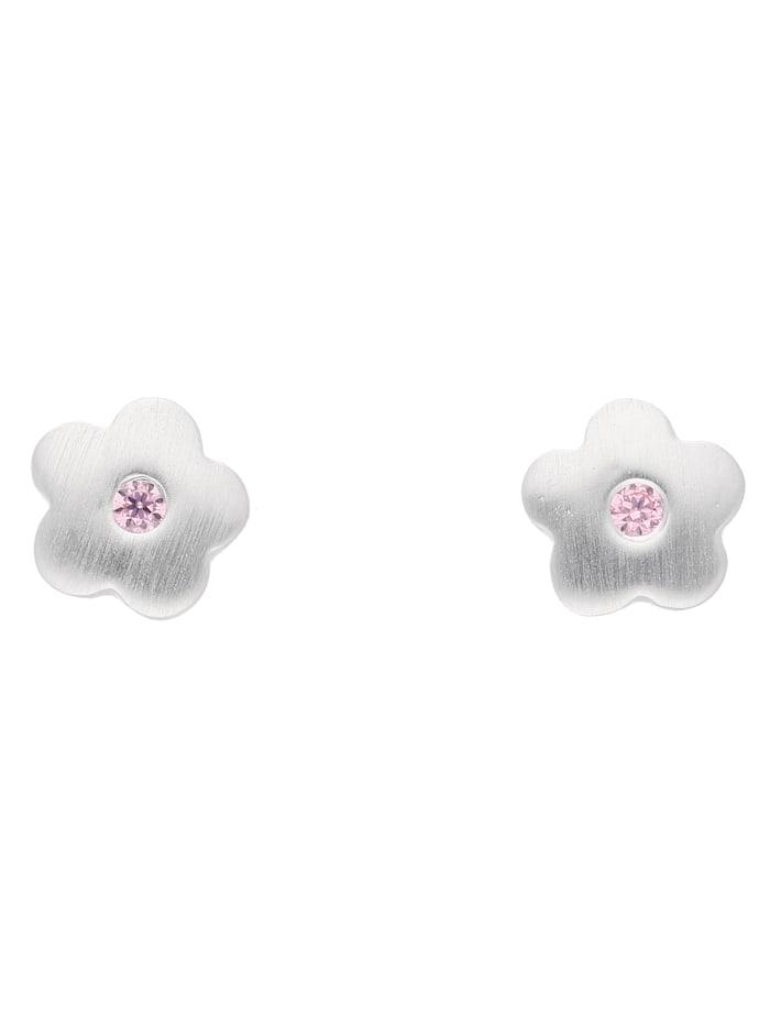 1001 Diamonds Damen Silberschmuck 925 Silber Ohrringe / Ohrstecker Blüte mit Zirkonia, pink