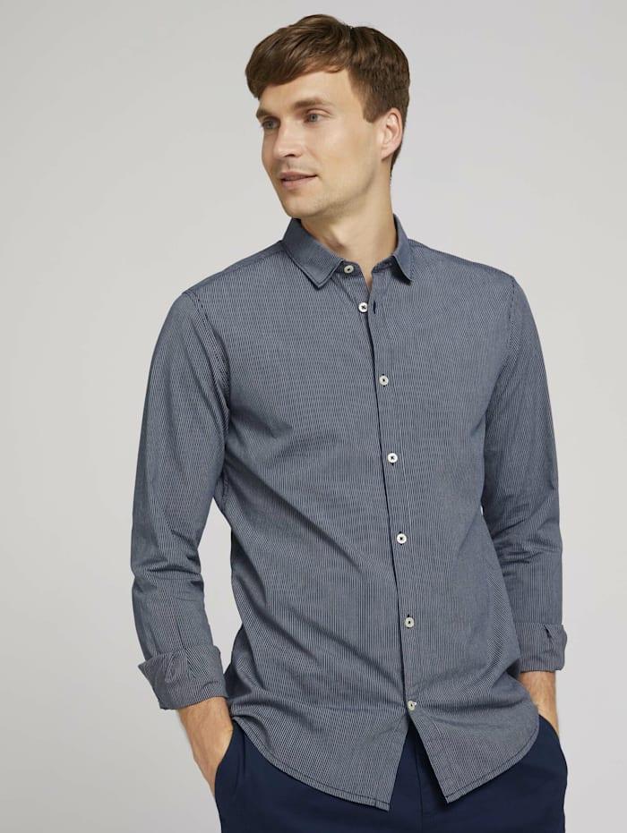 Tom Tailor Gestreiftes Slim Fit Hemd, navy white fine stripe