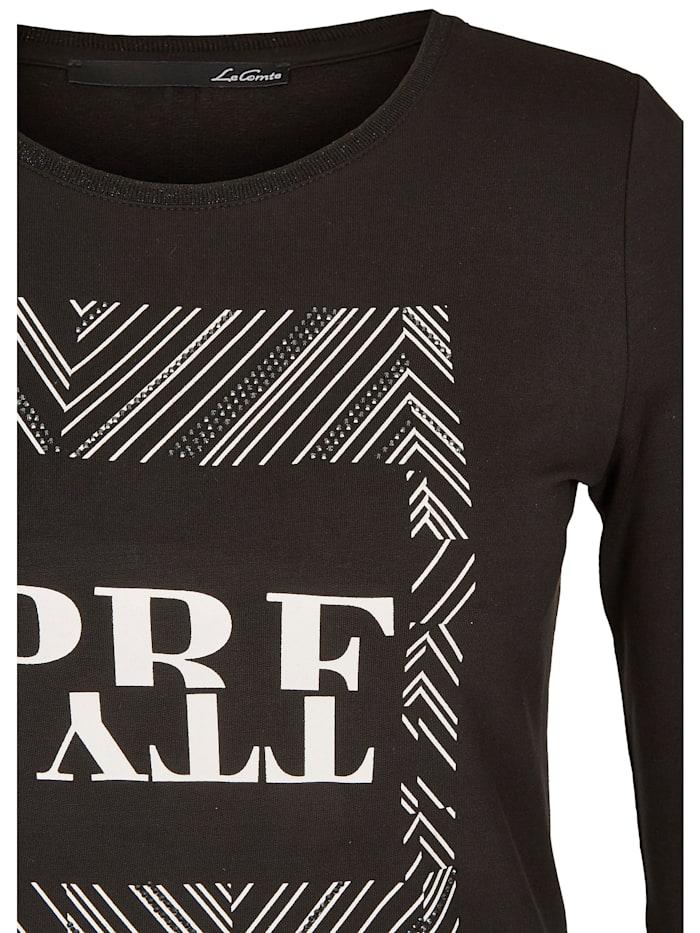 Shirt mit Front-Druck und Ziersteinchen