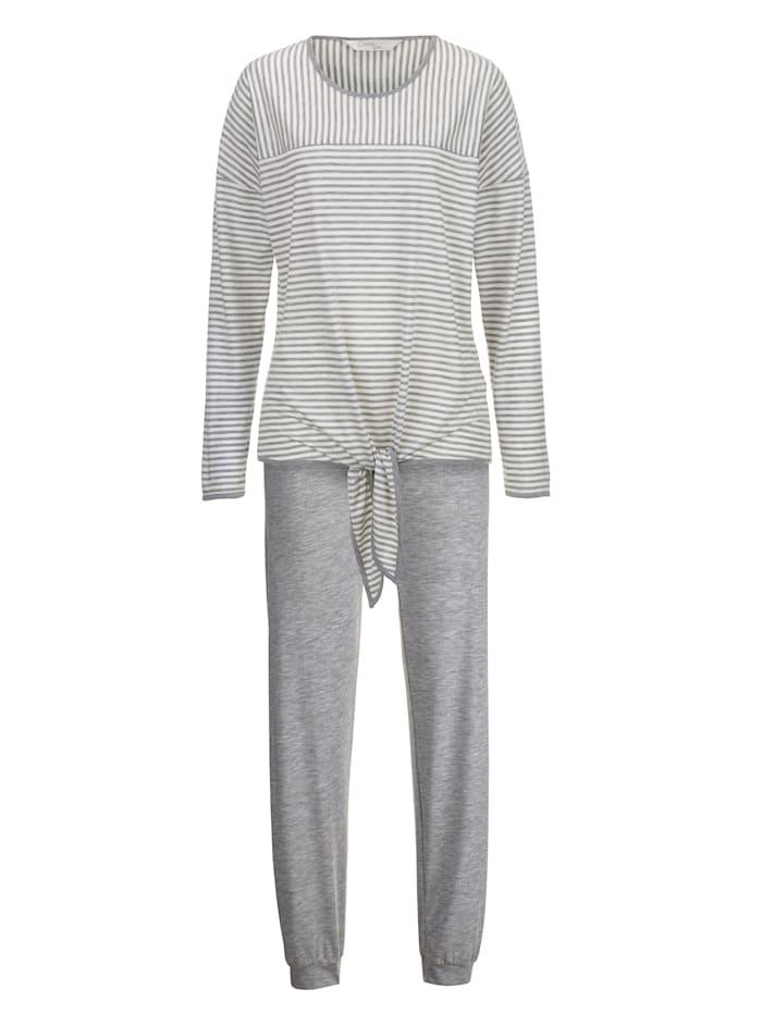 Ringella Pyjama avec bande à nouer pratique, Gris/Écru