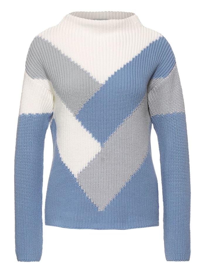 Street One Pullover mit Colourblock, angel blue