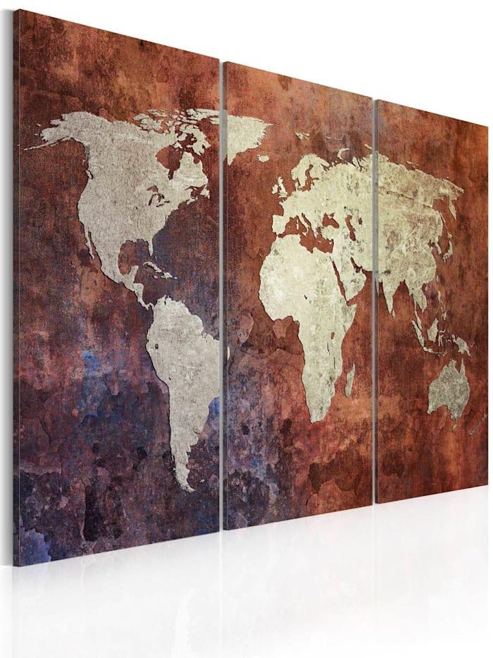 artgeist Wandbild Rostfrbene Weltkarte - Triptychon, Braun,Grau,Dunkelblau