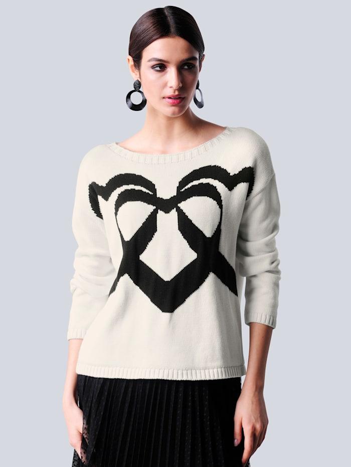 Alba Moda Pullover mit eingestricktem Herzmotiv im Vorderteil, Off-white/Schwarz