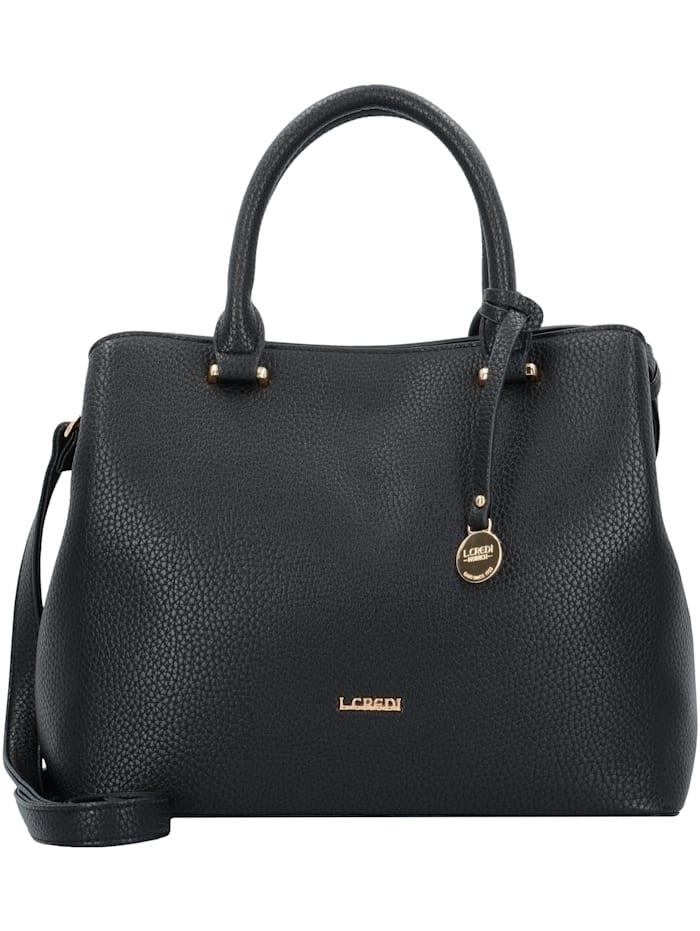 L.Credi Maxima Handtasche 28 cm Bodennägel, Stiftelaschen, schwarz