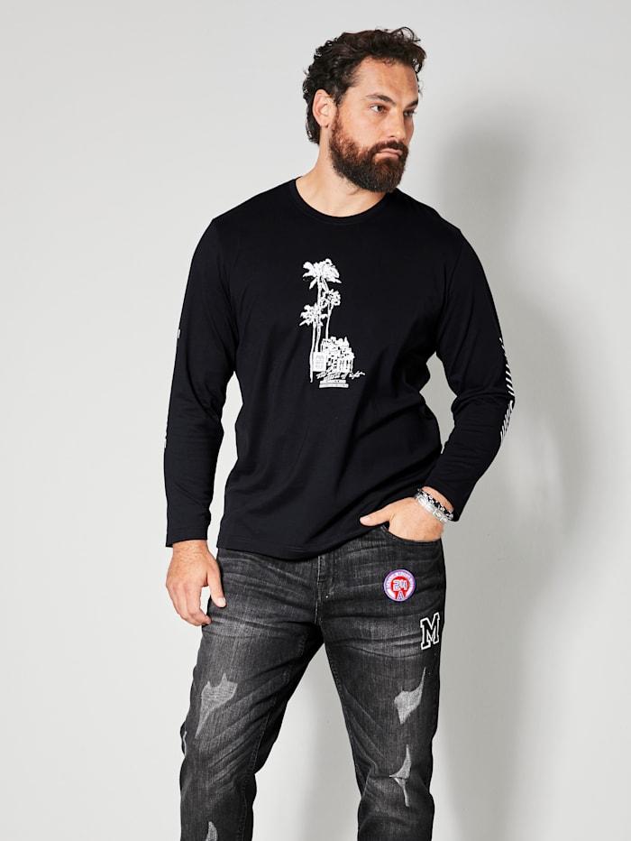 Men Plus Langarmshirt aus reiner Baumwolle, Schwarz