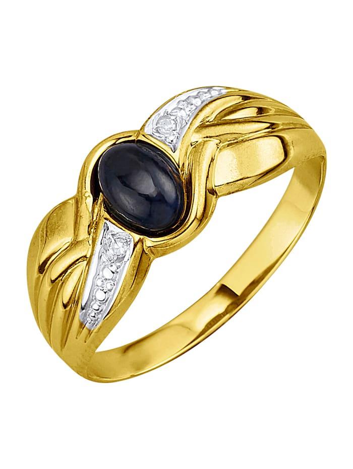 Damesring met saffier en diamanten, Blauw