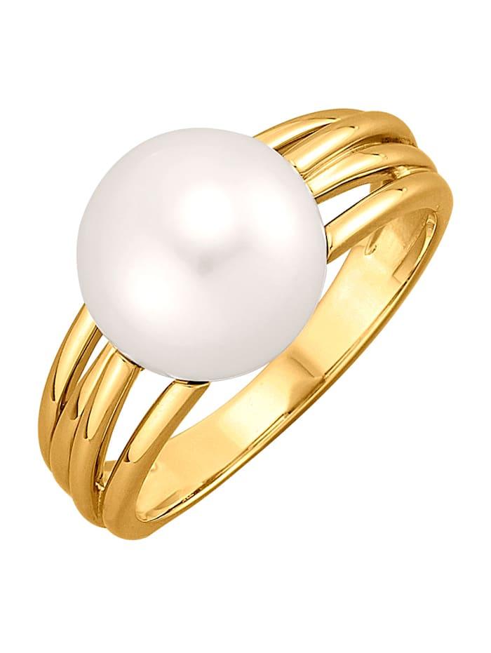 Diemer Perle Damenring Mit weißem Süßwasser-Zuchtperl-Bouton, Weiß