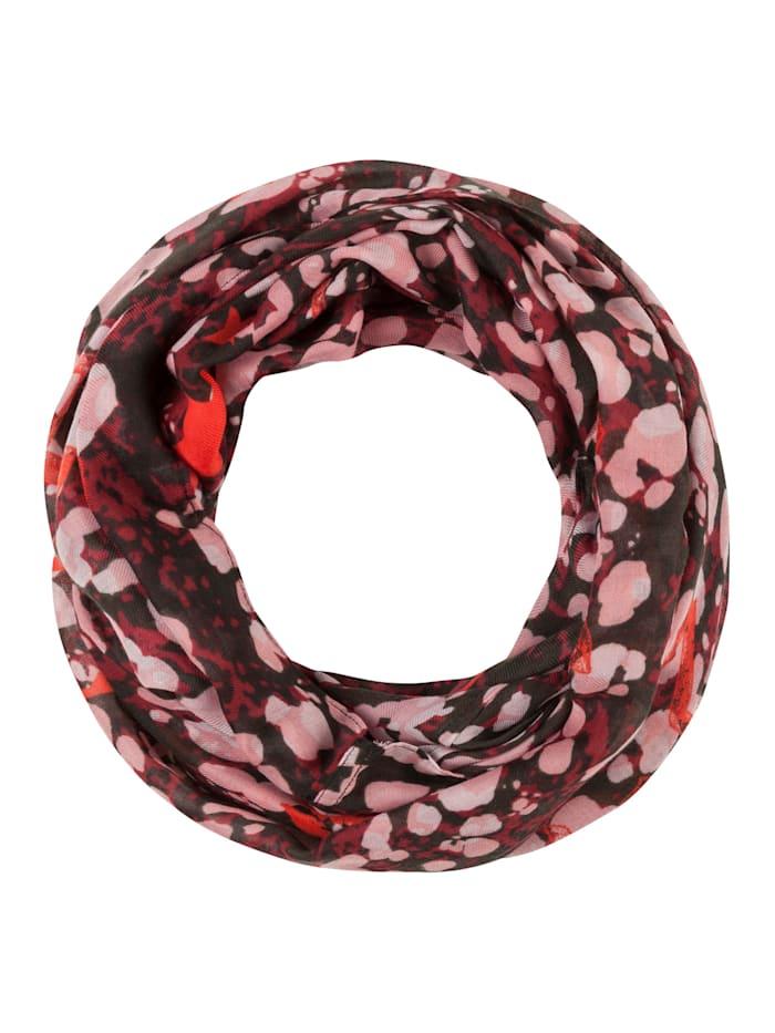Codello Softer Loop mit Kussmund- und Herzmotiven aus recyceltem Polyester, bordeaux