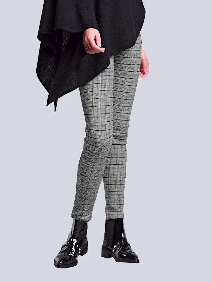 Alba Moda Legging van comfortabele jersey, Zwart/Offwhite