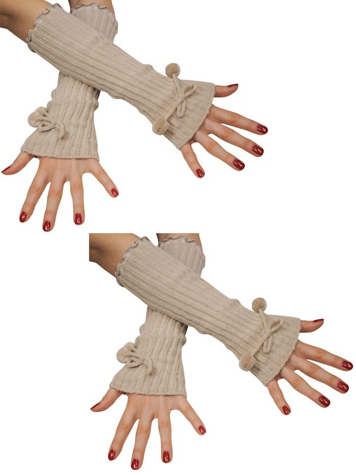 Simone Erto Stulpen Armstulpen-Set mit Bommeln - 2 Paar 2 Paar Armstulpen, beige