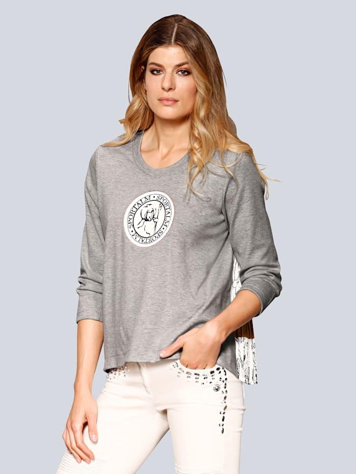 Sweatshirt mit plissiertem Bluseneinsatz im Rücken