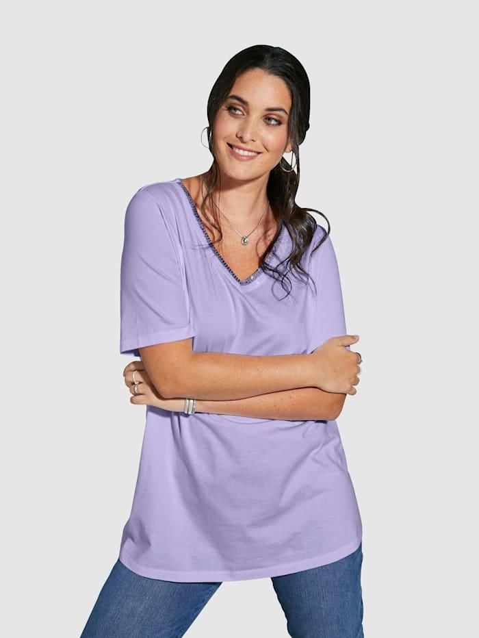 MIAMODA Shirt mit streckendem V-Ausschnitt, Flieder
