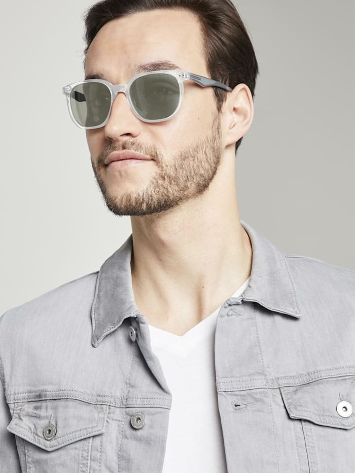 Tom Tailor Verspiegelte Wayfarer Sonnenbrille, light grey transparent