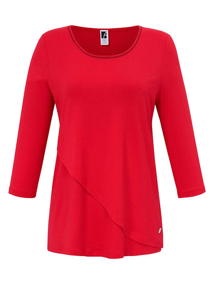 Anna Aura 3/4-Arm-Shirt Rundhals-Shirt mit 3/4-Arm Logo, rot