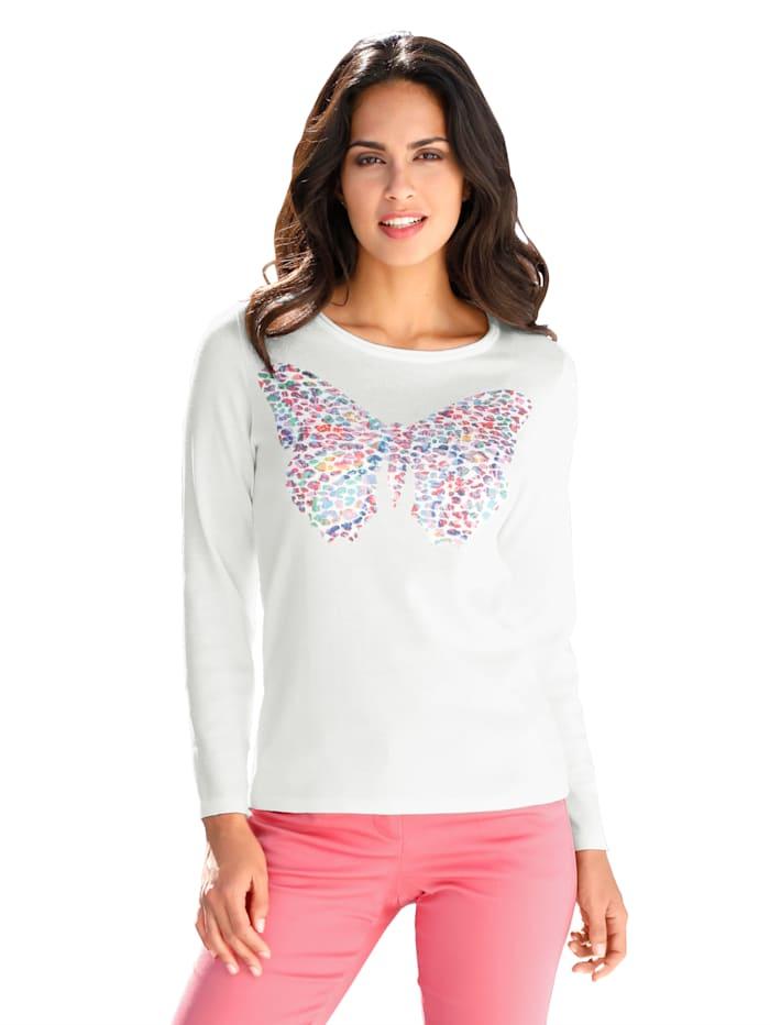 AMY VERMONT Pullover mit dekorativem Druck- und Steinchenbesatz, Off-white/Multicolor