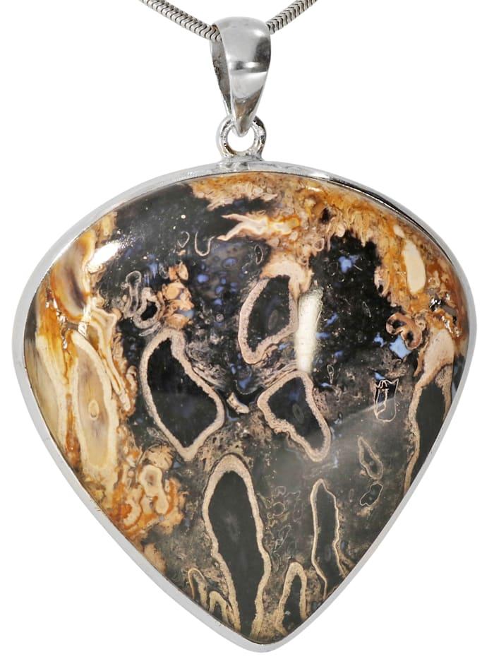 1001 Diamonds Damen Schmuck Edelstein Fossile Palme Anhänger 925 Silber braun, braun