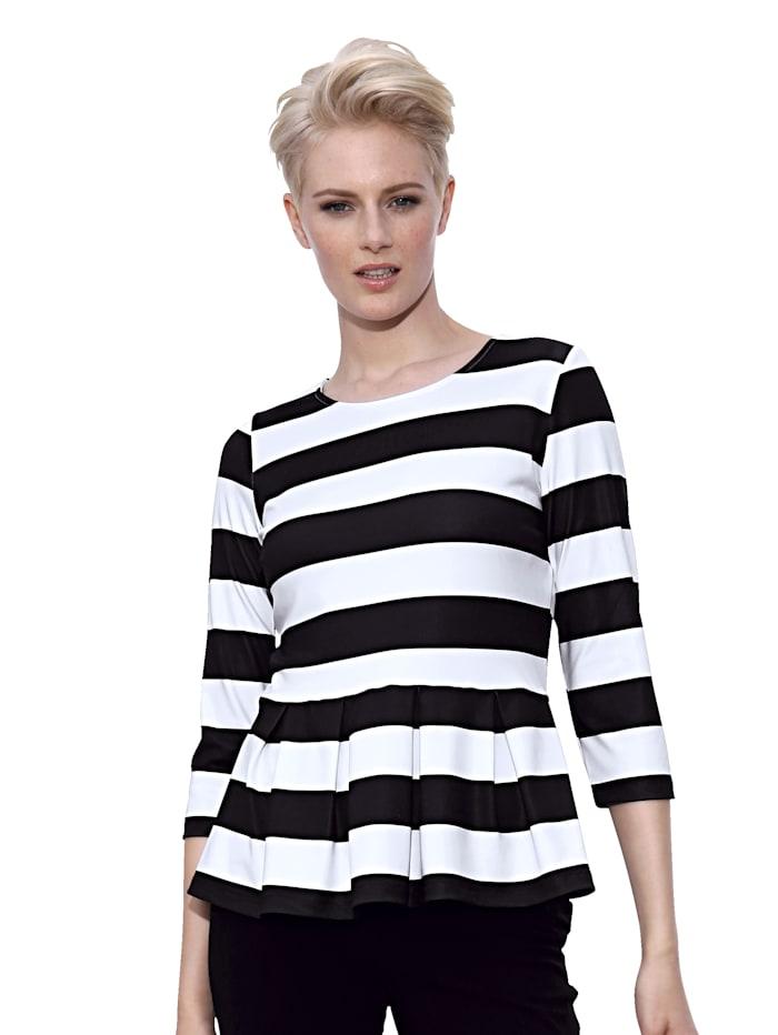 AMY VERMONT Shirt allover mit Streifendessin, Schwarz/Weiß