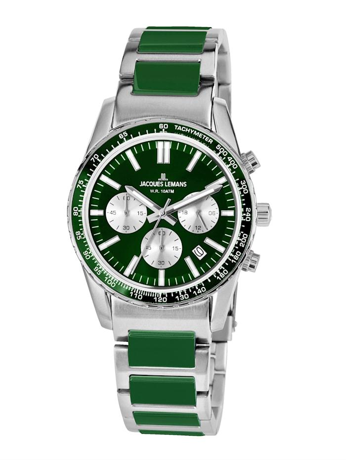 Jacques Lemans Unisex-Uhr Chronograph Serie: Liverpool, Kollektion: Sport Hinweis 1-2059J, Silberfarben/Grün