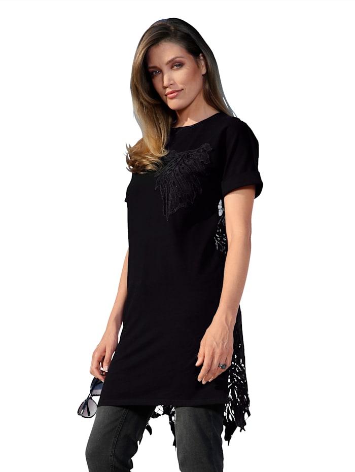 Longshirt mit Rückenteil aus transparenter Spitze