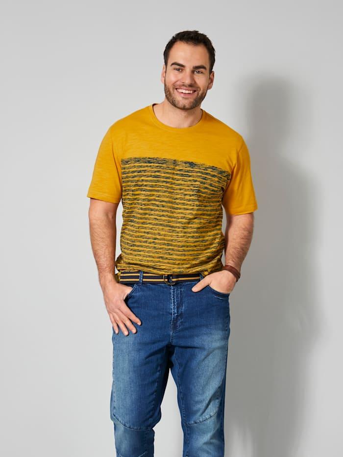 Men Plus T-Shirt aus reiner Baumwolle, Marineblau/Maisgelb