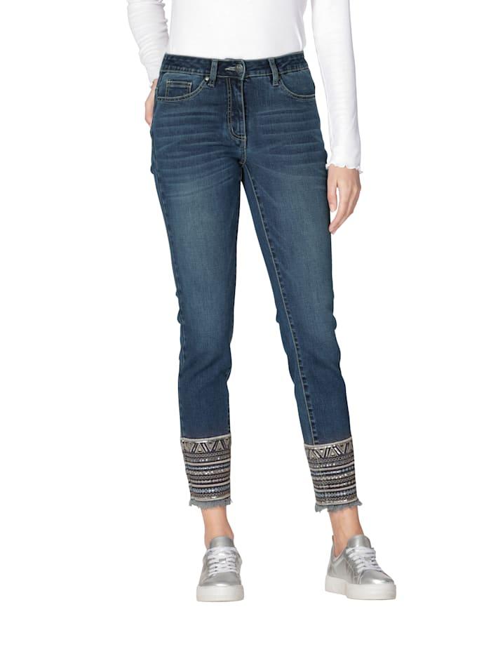 AMY VERMONT Jeans Mit Stickerei am Saum, Dark blue