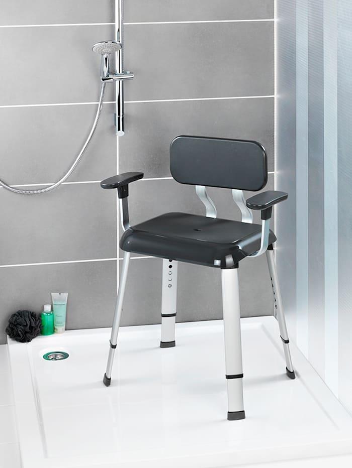 Tabouret de douche avec accoudoirs et dossier Secura Premium