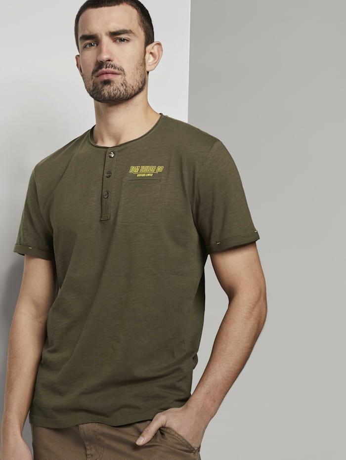 Tom Tailor Henley T-Shirt in Melange-Optik, Olive Night Green