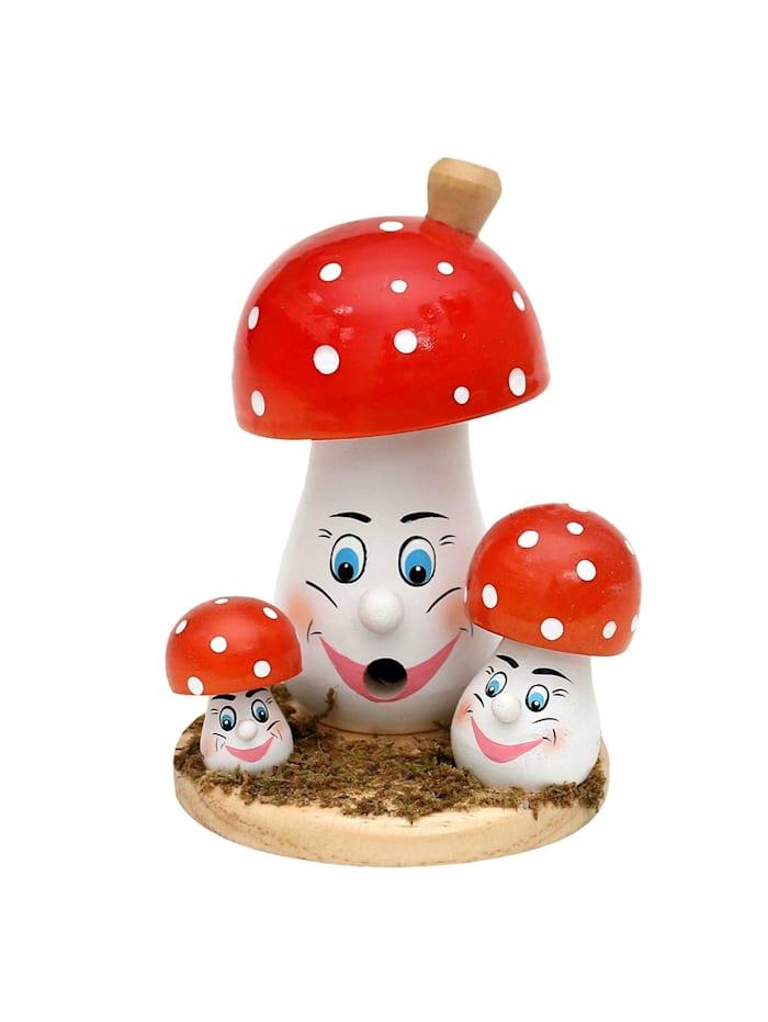 Sigro Holz Räucherpilzfamilie mit Gesicht, Bunt
