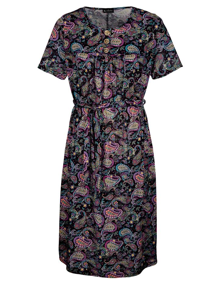 m. collection Paisleykuvioitu mekko, Musta