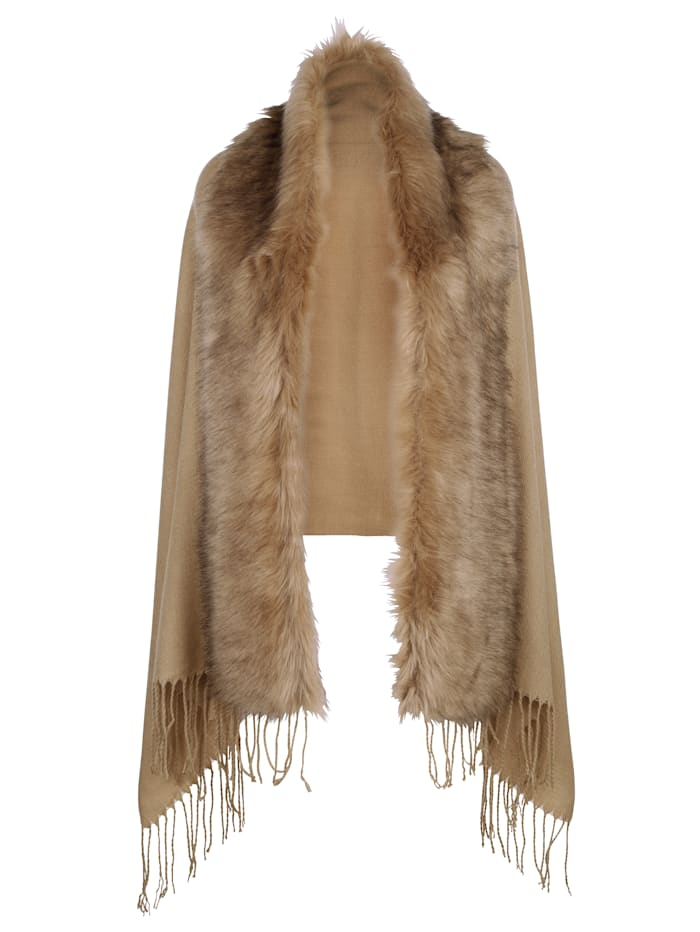 MONA Scarf with a faux fur trim, Light Brown