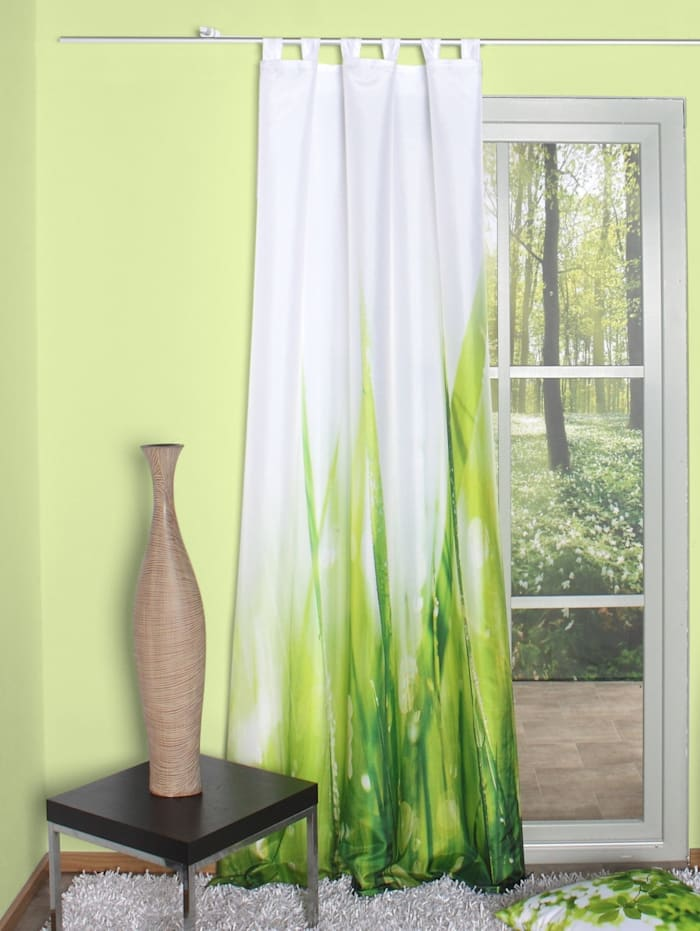 Home Wohnideen Schlaufengardine Digitaldruck, Leila, grün