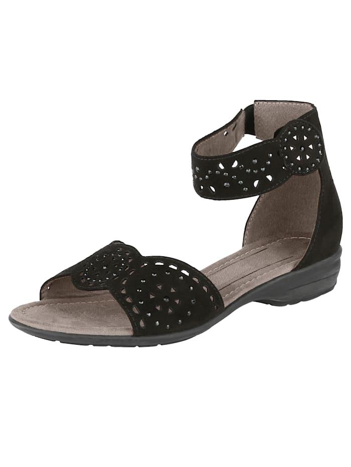 Sandale mit variablem Fesselriemchen aus Klett, Schwarz