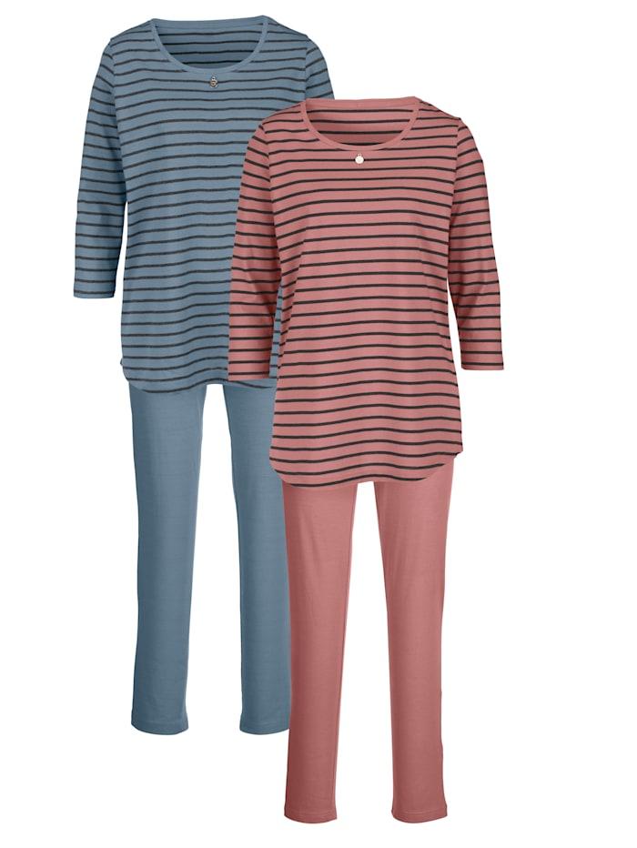 Schlafanzug im modischen Streifen-Look 2er Pack