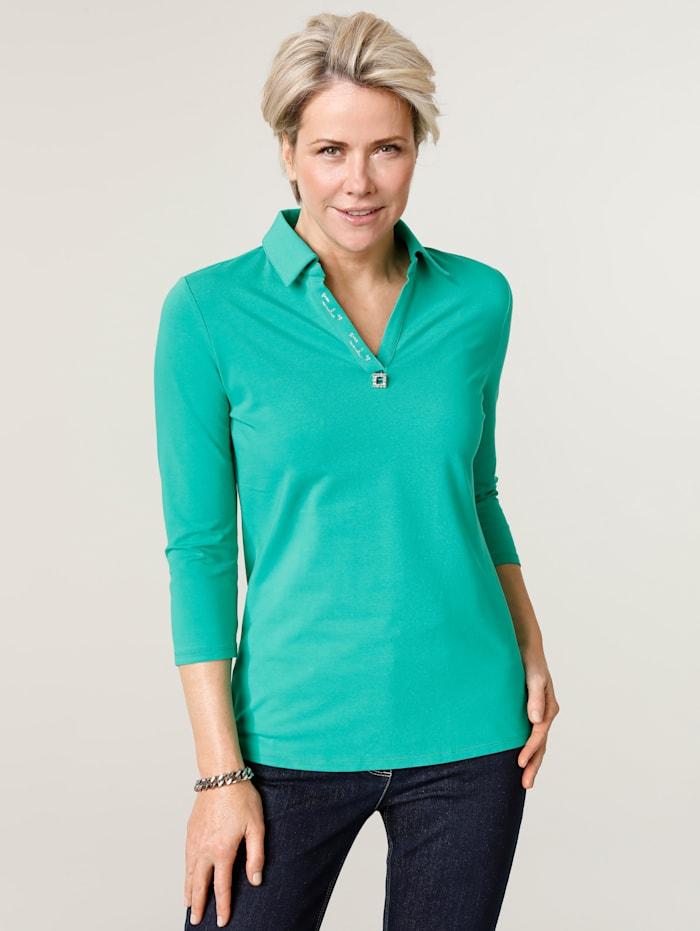 MONA Poloshirt mit Zierschnalle, Grün