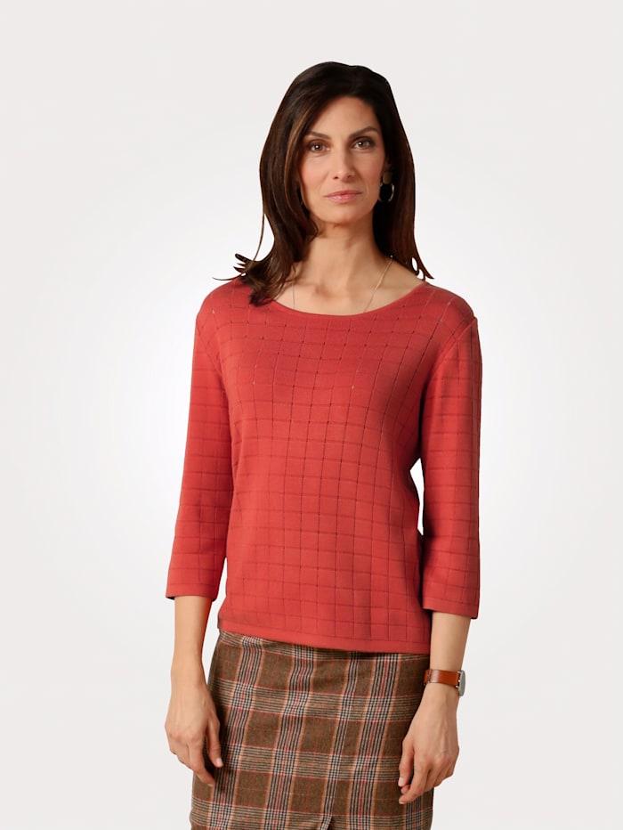 MONA Pullover mit Ajour-Karo, Terracotta
