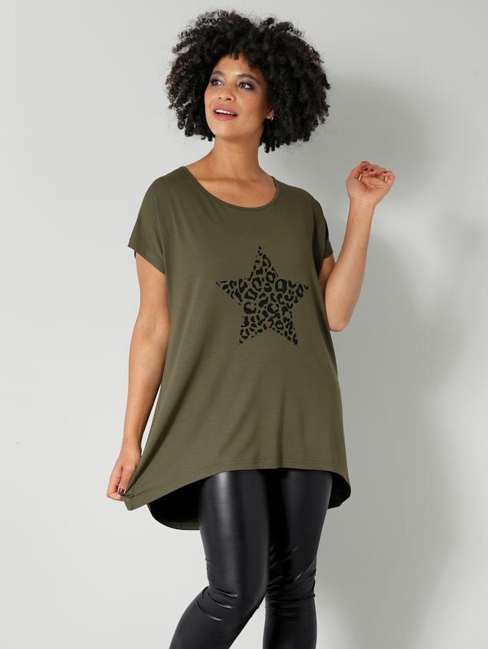Angel of Style Shirt in flatterend model, Kaki/Zwart