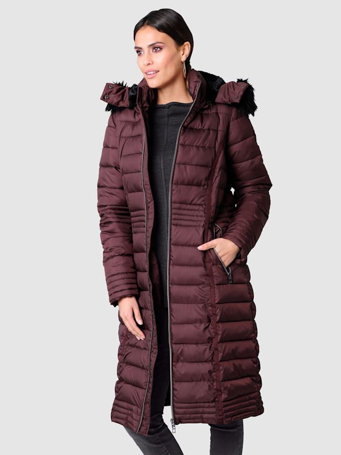 Alba Moda Kabát s límcem s umělou kožešinou, Bordó