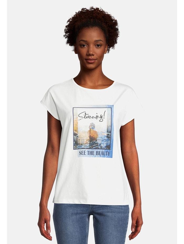 Cartoon Printshirt mit Aufdruck, Blau