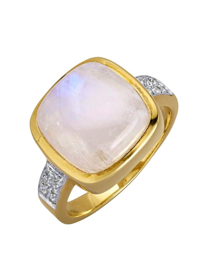Gemondo Bague avec pierre de lune, Blanc