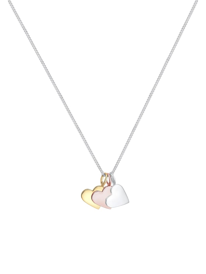 Halskette Tri-Color Herz Anhänger Liebe Infinity 925 Silber