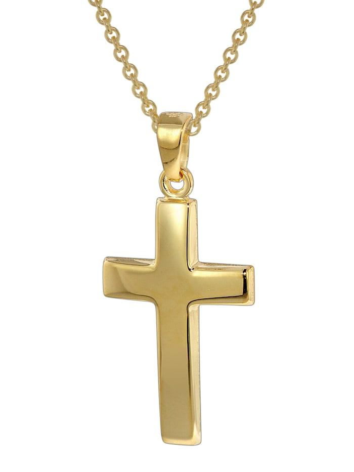 trendor Kreuz-Anhänger Gold 333 mit goldplattierter Silberkette, Goldfarben